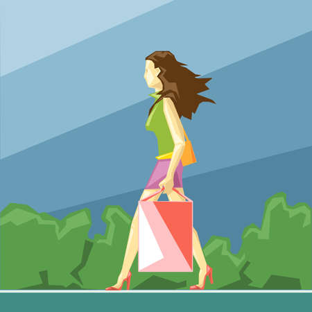 red shoes: Shopping lady in green and pink clothes and red shoes, on a blue sliced background with trees, in big pixel style with bags, digital vector image