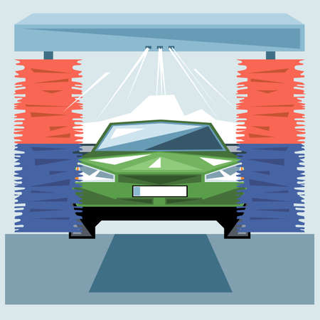 water jet: Green car wash at station with jet of water and red and blue cleaners, front view, digital vector image Illustration