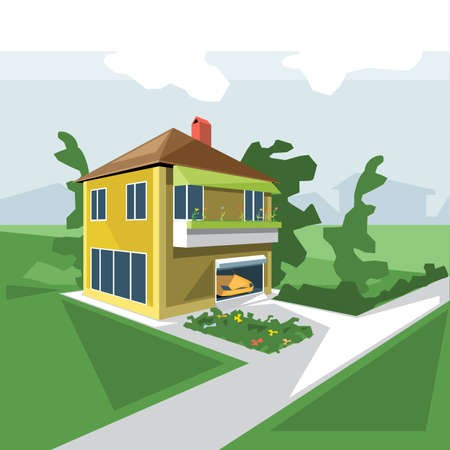 car garden: A house in 2 floors, view from perspective, with flowers at the balcony and a yellow car in the garage and green garden, digital vector image Illustration