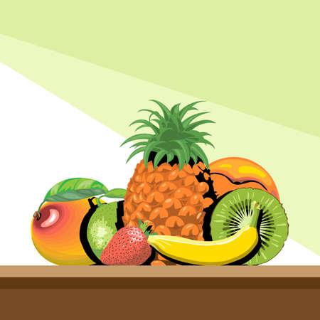 fiambres: Un conjunto de frutas con sombra, piña, mango, melocotón, kiwi, plátano, vector de imagen digital de fresa y limón,. Vectores