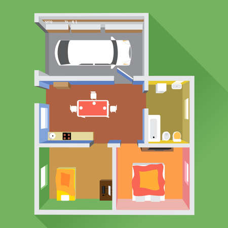 floorplan: A house in section with a car in garage, a bathroom, a kitchen and 2 living rooms, top view, over a green background, digital image vector
