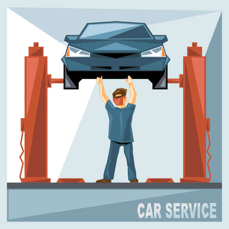 fixing: A mechanic in blue suit fixing a blue car in car service, over silver background, digital vector image