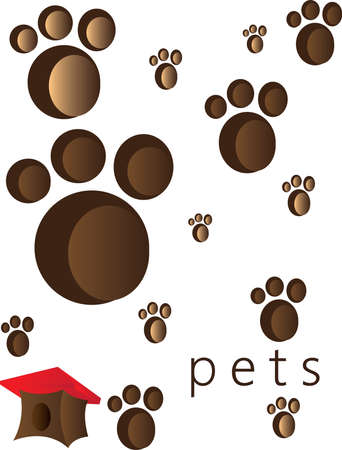 foot steps: Pets and animals foot steps and traces with a small red roof cage.