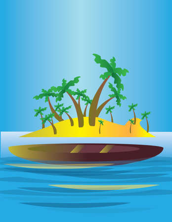 blue lagoon: An abstract island in the sea, with yellow land and green palms with a boat. Illustration