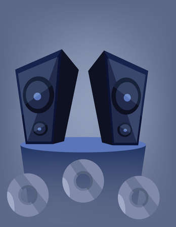 Two blue music speakers on a deck over a blue background with dvd and cd disks.