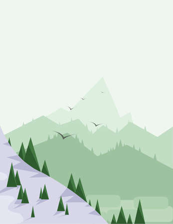 green hills: Abstract landscape with pine trees, snow, birds and green hills, over a light green background.