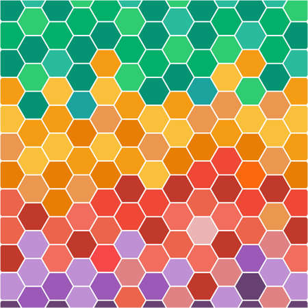 chain reaction: Abstract illustration with hexagonal colored honey cells. Digital vetor image.