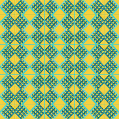 prism: Abstract background with aqua prism shapes and squares pattern over an yellow background. Digital vector image.