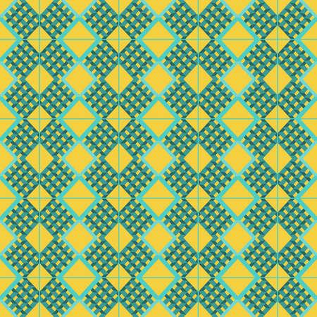 prisma: Resumen de fondo con formas prism�ticas aqua y plazas patr�n sobre un fondo amarillo. vector de imagen digital. Vectores