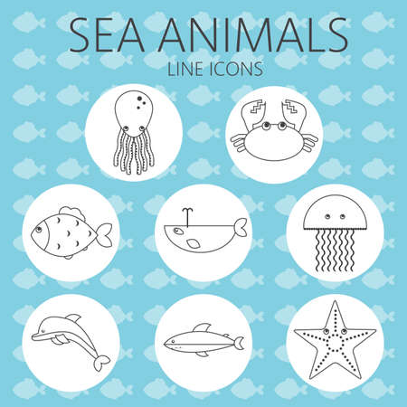 black sea: Black sea animal set in outlines with octopus, crab, fish, penguin, shark, whale, jellyfish and starfish over an aqua blue background with fish. Digital vector image. Illustration