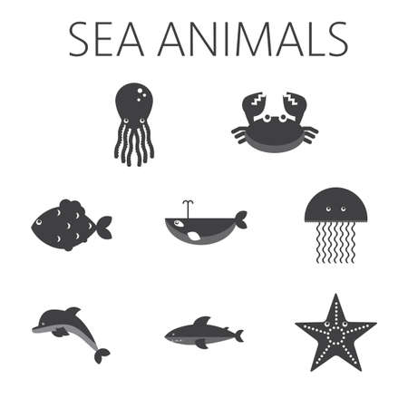 black sea: Black sea animal set in outlines with octopus, crab, fish, penguin, shark, whale, jellyfish and starfish. Digital vector image.