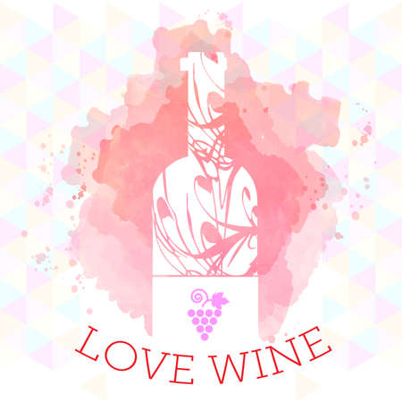 wine background: Wine tasting and love card, white bottle and grape sign over red background with water color. Digital vector image.