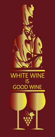 wine card: White wine card, bottle and two glasses with grape signs in outlines over dark background. Digital vector image. Illustration