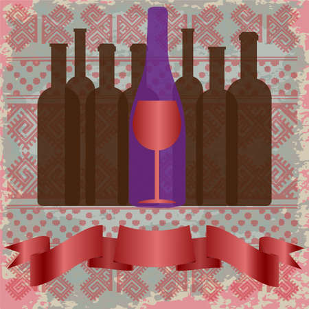 wine bottles: Wine tasting card, bottles and a red glass over a background with pattern. Digital vector image.