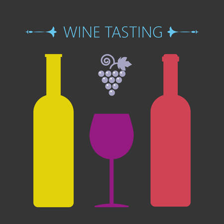 Wine tasting card, two yellow and red bottles over a silver background with grape sign and a purple glass. Digital vector image. Ilustração Vetorial