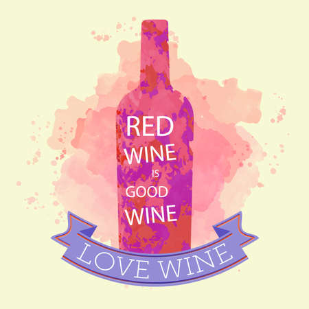 Red wine tasting and love card, bottle with inscription over a colored background with water color. Digital vector image.