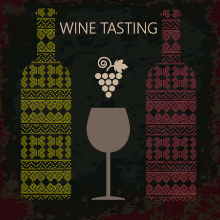 tasting: Wine tasting card, two bottles of white and red wine, a glass and grape sign over dark background. Digital vector image. Illustration