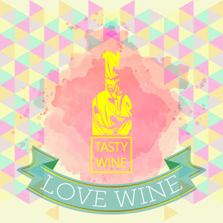 wine red: Red wine love and tasting card, yellow bottle over water color background with pattern. Digital vector image. Illustration