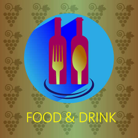 wine card: Food and drink with red wine card, two bottles with fork and spoon signs over a background with grapes. Digital vector image.