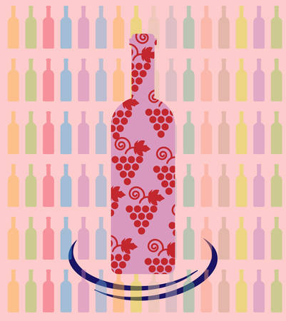 tasting: Wine tasting card, a bottle with grape sign over a background with pattern of colored bottles. Digital vector image.