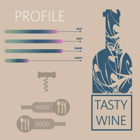 wine background: Tasty wine and food restaurant info graphic with components, bottle, spoon, knife and fork signs in outlines over light brown background. Digital vector image. Illustration