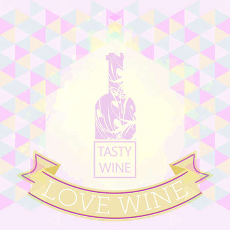 tasting: Wine tasting and love card, purple bottle over colored background with pattern. Digital vector image. Illustration