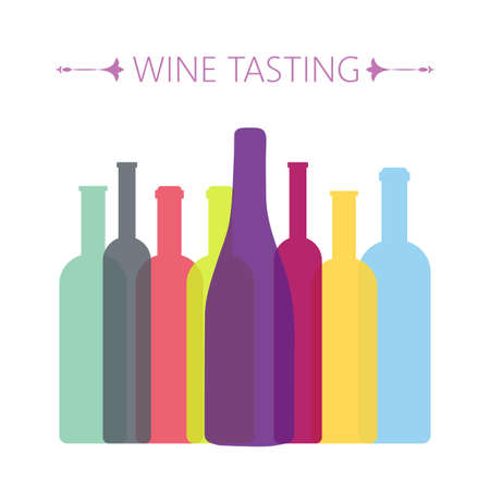 Wine tasting card, with colored bottles over a white background. Digital vector image. Stock Illustratie