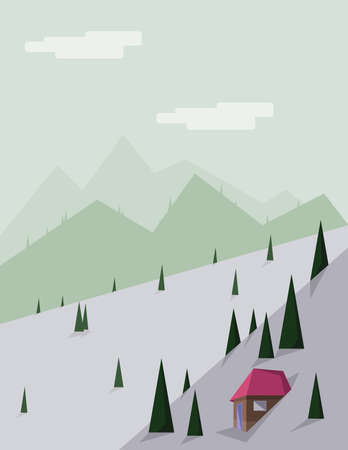 green hills: Abstract landscape with pine trees, a brown house with red roof, green hills and mountains, over a light green background with white clouds. Digital vector image. Illustration
