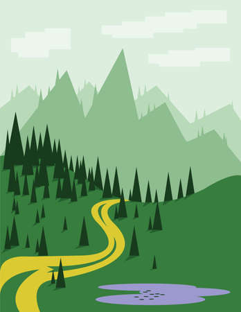 curved road: Abstract landscape with pine trees, an yellow curved road, purple lake, green hills and mountains, over a light green background with white clouds. Digital vector image.