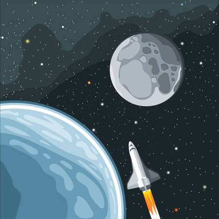 eart: Spaceship mission to moon. Eart and moon view in space. Digital vector image. Illustration