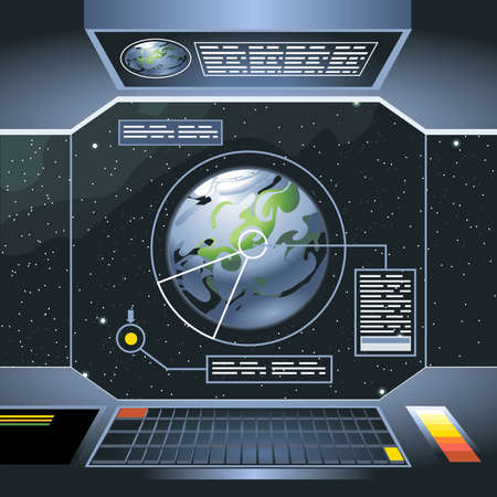 Spacecraft interior view and window to space and planet. Board with computers and screen with info analysis of the planet. Digital vector image.