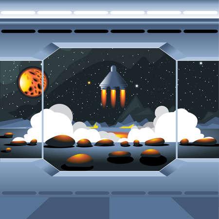Spacecraft vue intérieure et la fenêtre à l'espace et du soleil. lancement de Spaceship d'une planète avec des roches. Image numérique vectoriel.