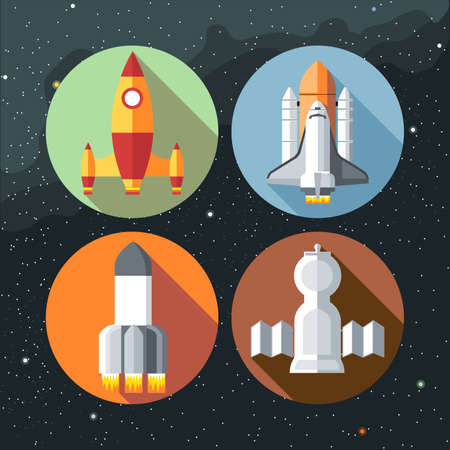 shuttles: Spaceships icons collection with shuttles and rockets. Digital vector image.
