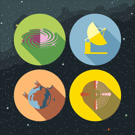 space antenna: Space icons set with stars and galaxies, planet earth, antenna and radar. Digital vector image. Illustration