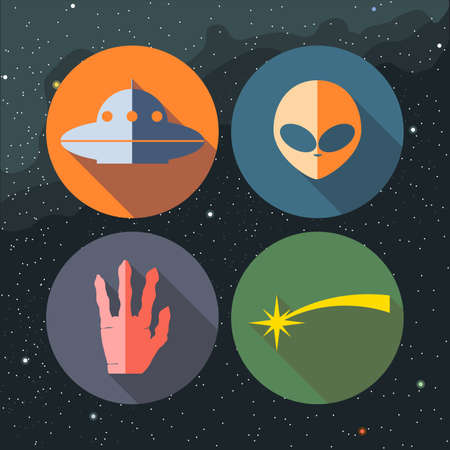 star path: Unidentified flying objects icons set with ship, alien, hand and star path. Digital vector image. Illustration
