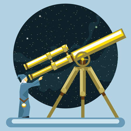 mag: Ancient mag looking into a telescope and pointing with hand, observing stars, planets and galaxies. Digital vector image.