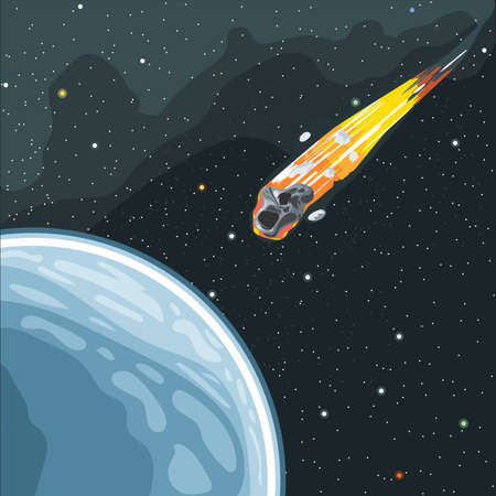 Burning comet flying in space to planet earth. Digital vector image.