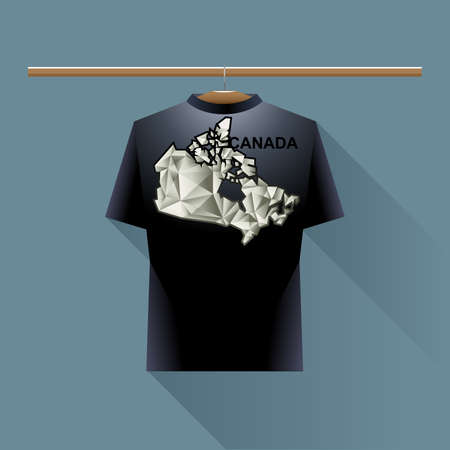 black shirt: Black shirt with canada logo country on a hanger in wardrobe over blue background. Digital vector image. Illustration