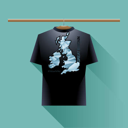 black shirt: Black shirt with blue ireland and great britain logo country on a hanger in wardrobe over green background. Digital vector image