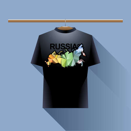 black shirt: Black shirt with colored russia logo country on a hanger in wardrobe over blue background. Digital vector image