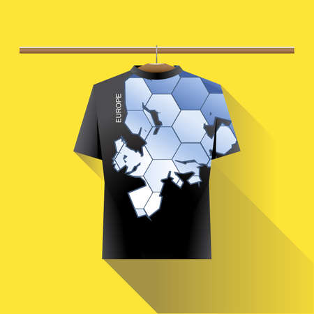 black shirt: Abstract black shirt with europe blue logo with hexagon cells and text on a hanger in wardrobe over yellow background. Digital vector image