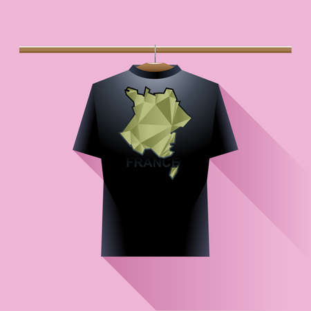 black shirt: Black shirt with green france logo country on a hanger in wardrobe over pink background. Digital vector image. Illustration