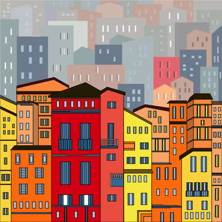 urban background: Abstract colored city view in outlines with many houses and buildings as a single piece. Cartoon style. Digital vector image.