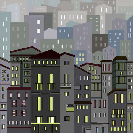 night view: Abstract grey city view in outlines with many houses and buildings as a single piece at night with lights. Cartoon style. Digital vector image. Illustration