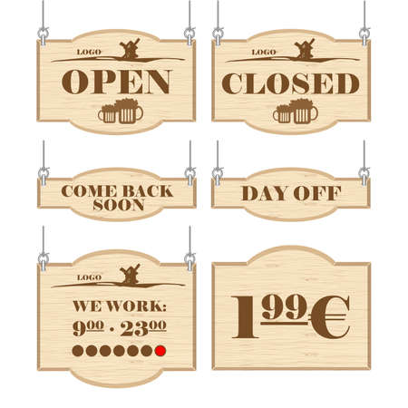 the day off: Western bar logo set collection with open, closed, day off signs in outline. Digital vector image.