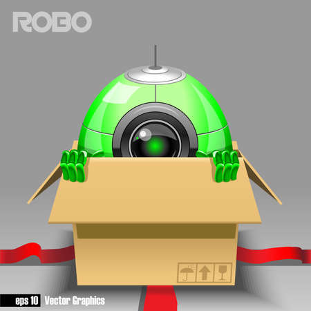 black eye: 3d green robo eyeborg exiting from a brown box with red ribbon as a surprise. Big green and black eye and antenna, two hands. Digital vector image.