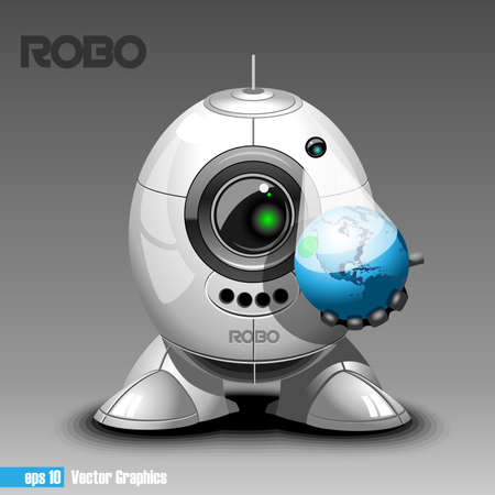 robo: Silver robo eyeborg projecting the planet earth in 3d, holding in hand. Big green and black eye and antenna, two feet. Digital vector image.