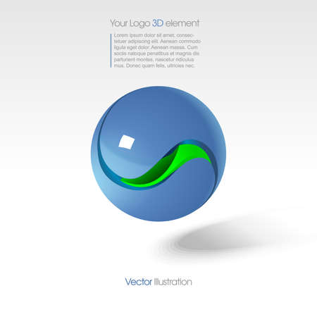 the kernel: Abstract big   in 3d with a blue sphere with green kernel, text and shadow. Digital vector image.