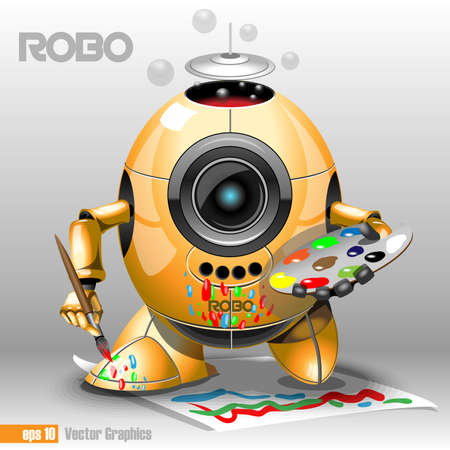 robo: 3d orange robo eyeborg painting with a pencil on a paper, holding in hand. Big blue and black eye and antenna, two feet. Digital vector image.