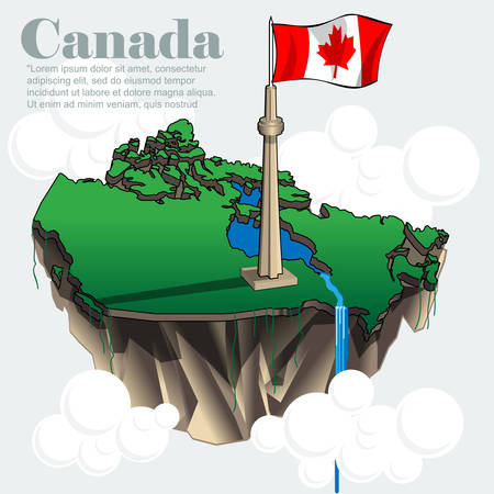 canada country: Canada country infographic map in 3d with country shape flying in the sky with clouds with the big flag and lakes. Digital vector image